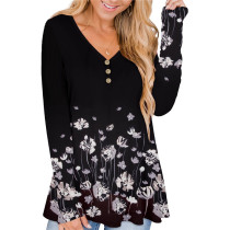 Black White Solid color printed pleated loose T-shirt
