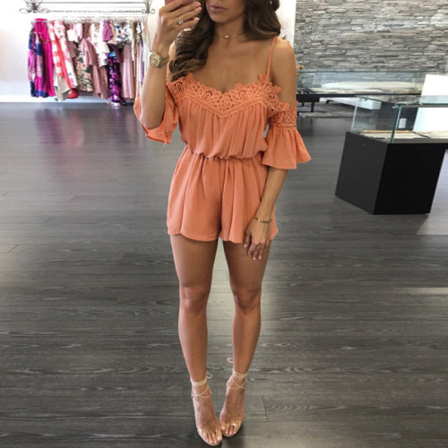 Beach dress lace shoulder jumpsuit jumpsuit