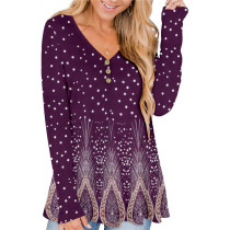Purple Solid color printed pleated loose T-shirt