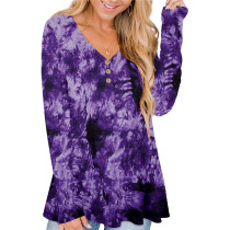 Purple 2 Solid color printed pleated loose T-shirt