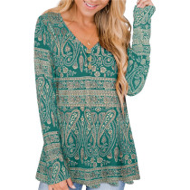 Green Solid color printed pleated loose T-shirt