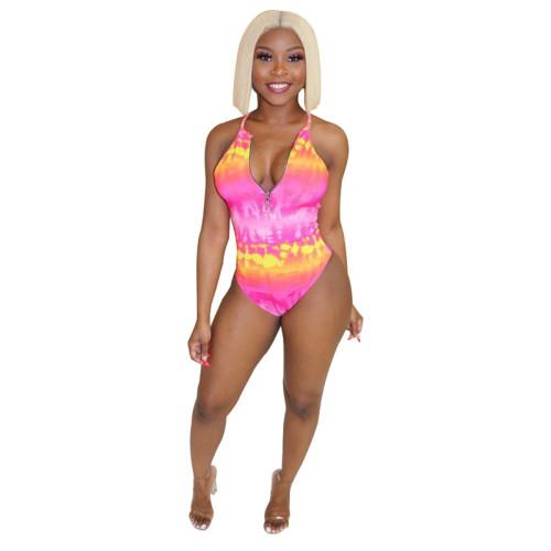 Pink Tie dye suspender one piece swimsuit