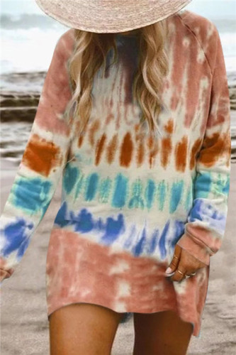 Orange Gradient color long sleeve sweater dress