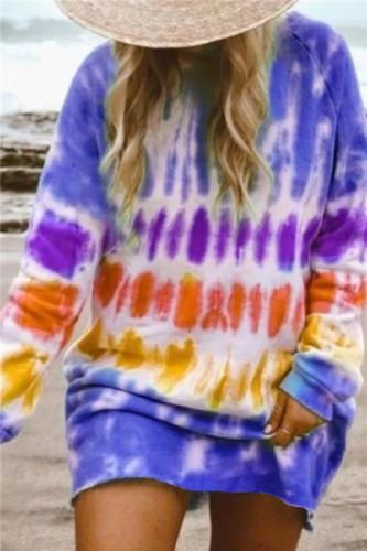 Purple Gradient color long sleeve sweater dress