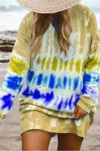 Yellow Gradient color long sleeve sweater dress