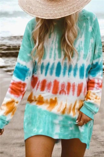 Green Gradient color long sleeve sweater dress
