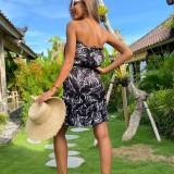 Floral chiffon elastic sexy big breasted female dress