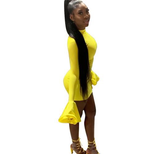 Yellow Sexy flared sleeve dress