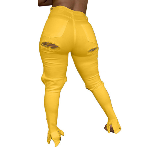 Yellow Personalized fashion slim-fit ripped jeans