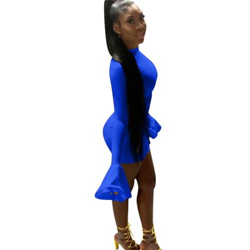 Blue Sexy flared sleeve dress