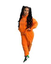 Orange Two-piece printed sweater