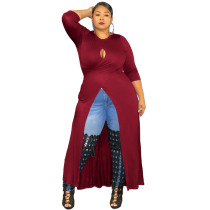 Dark Red Solid color sexy hollow slit dress