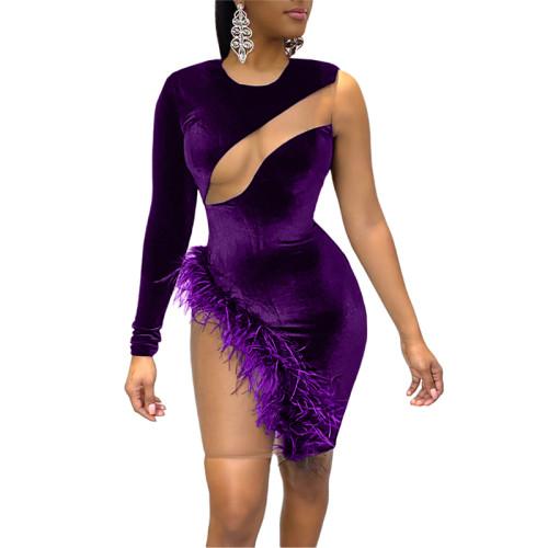 Purple Sexy Feather Mesh Stitching Irregular Dress