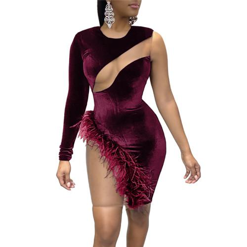 Red Sexy Feather Mesh Stitching Irregular Dress