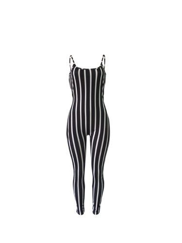 Black Sexy striped strap Jumpsuit