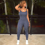 Dark Blue Sexy striped strap Jumpsuit