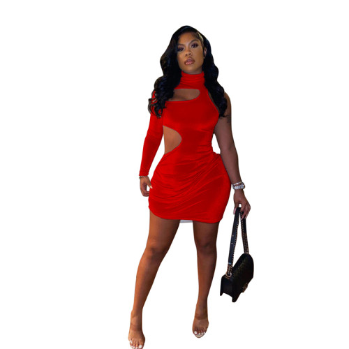 Red Sexy fashion casual single sleeve dress