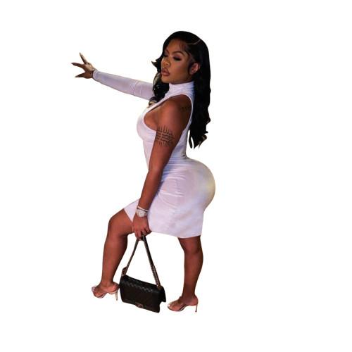 White Sexy fashion casual single sleeve dress