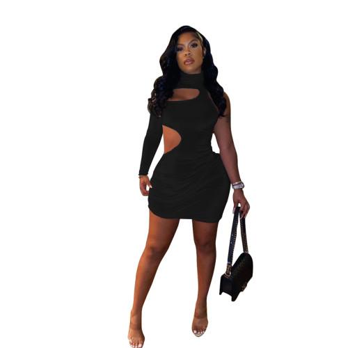 Black Sexy fashion casual single sleeve dress