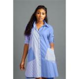 Light Blue Copy Yellow Fashion stripe stitching front short back long shirt dress