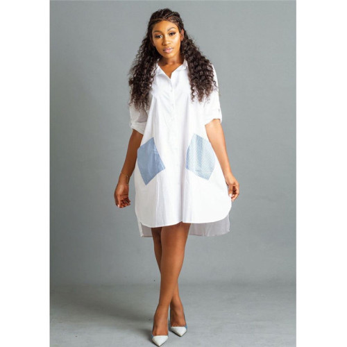 White Fashion stripe stitching front short back long shirt dress