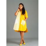 Yellow Fashion stripe stitching front short back long shirt dress