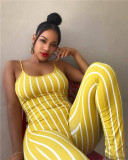 Yellow Sexy striped strap Jumpsuit
