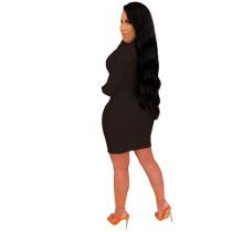 Black Fashion V-neck mid skirt women's dress