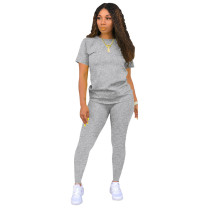 Gray Pure color leisure two-piece suit