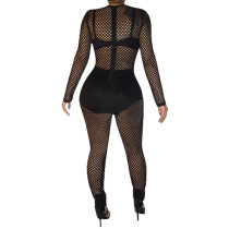 Black Sexy gauze and shining pearl Jumpsuit