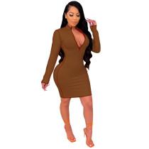 Brown Fashion V-neck mid skirt women's dress