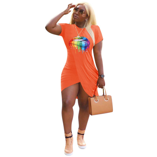 Orange Printed fashion sexy dress