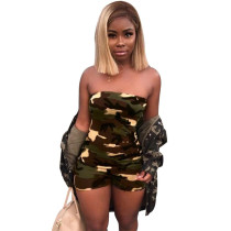 Sexy Strapless Strapless camouflage short Jumpsuit