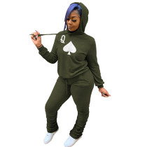 Green Two-piece poker print hooded sweater
