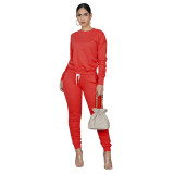 Red Pure color high elastic sports two-piece suit