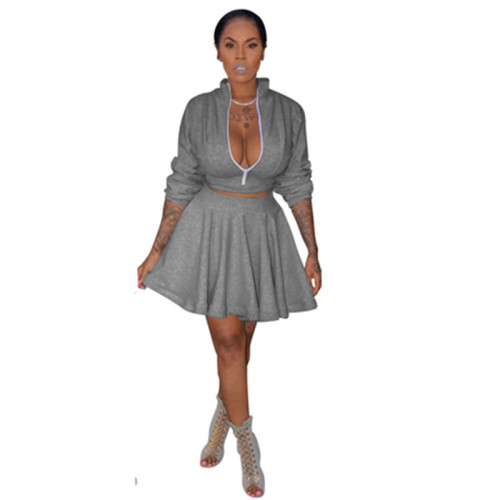 Gray Two piece set of solid color sexy lantern skirt