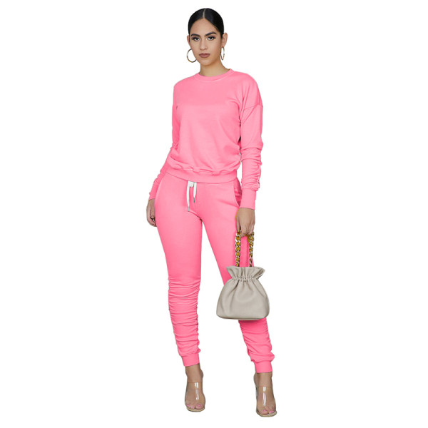 Pink Pure color high elastic sports two-piece suit