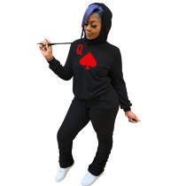 Black Two-piece poker print hooded sweater
