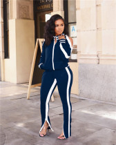 Dark Blue Off-the-shoulder sports two-piece suit