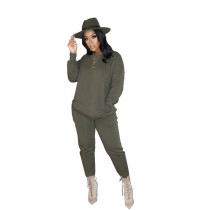 Green Pure color high elastic sports and leisure two-piece suit