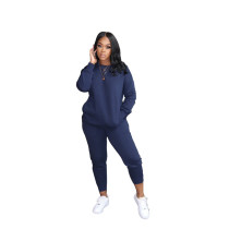Blue Pure color high elastic sports and leisure two-piece suit