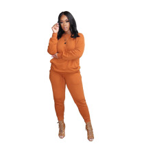 Orange Pure color high elastic sports and leisure two-piece suit