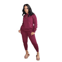 Red Pure color high elastic sports and leisure two-piece suit