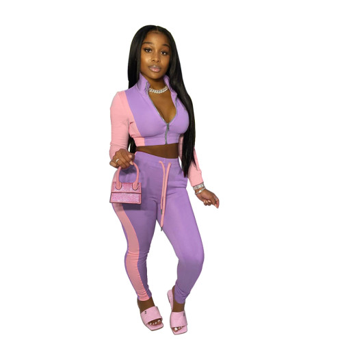 Purple Color matching sports two-piece suit