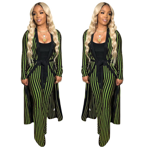 Women's striped pants suit two-piece suit without vest