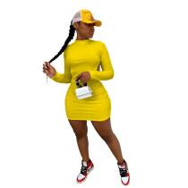 Yellow Sexy halter nightclub style dress