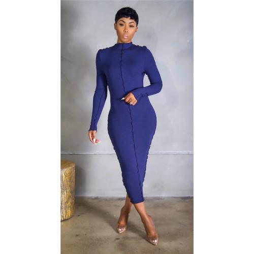 Blue Stretch slim long dress