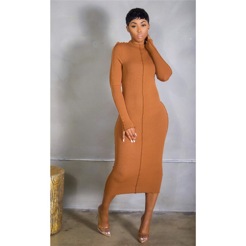 Orange Stretch slim long dress