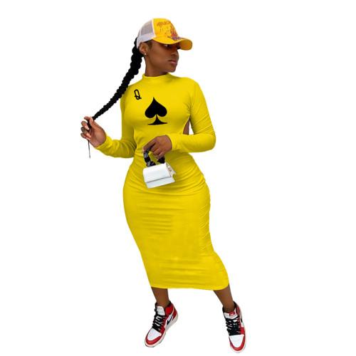 Yellow Long sleeve halter nightclub style long dress