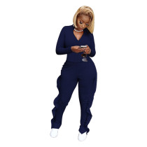 Blue Two-piece leisure sports frilled pants